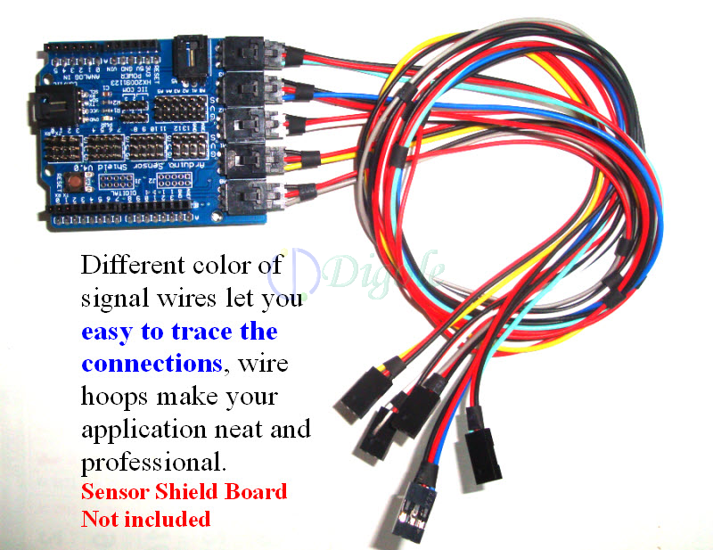 Connectors--Arduino 50cm length 3pin 2.54mm pitch sensor cables lock ...