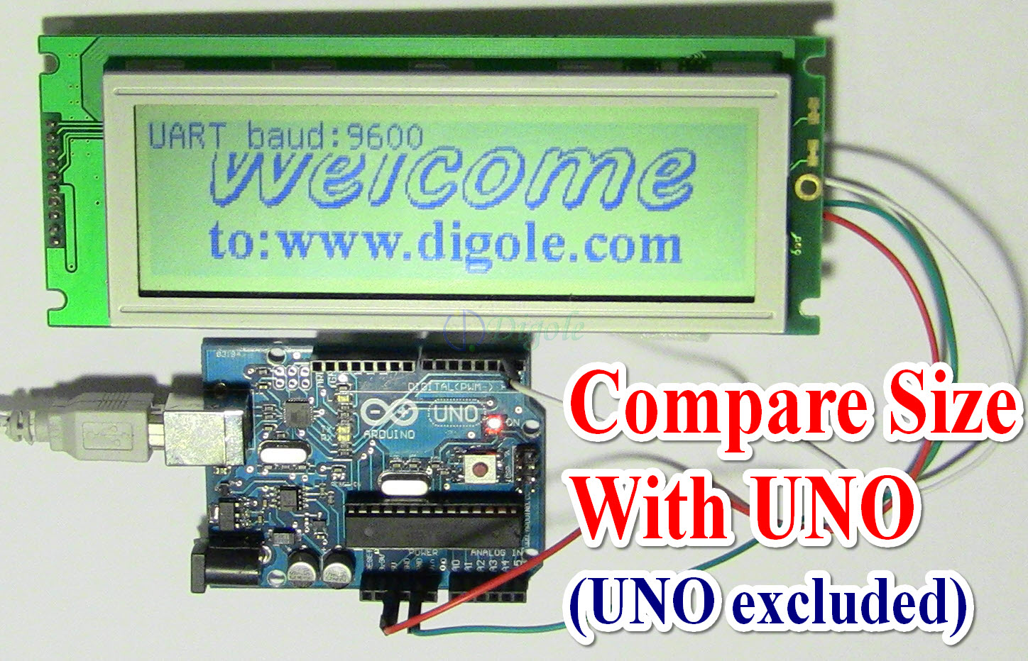 Mono LCD--Serial:UART/I2C/SPI 240x64 Graphic LCD DS24064LCD-1