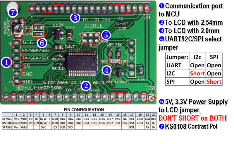 Mono LCD--Universal Serial:UART/IIC/I2C/SPI Adapter for 128x64 LCD