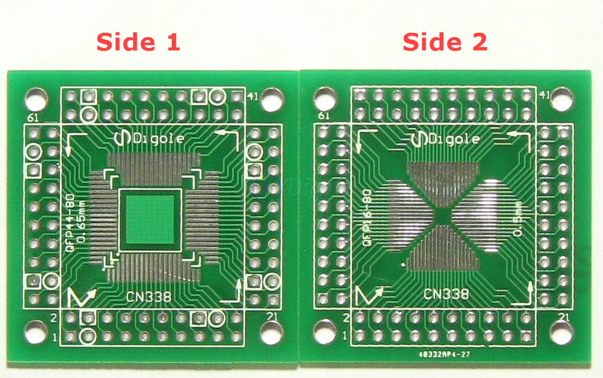 Prototyping PCB--Solder Plated QFP/TQFP/PQFP/LQFP 16 to 80 pin pitch